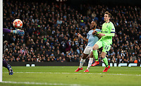 Football - 2018 / 2019 UEFA Champions League - Round of Sixteen, Second Leg: Manchester City (3) FC Schalke 04 (2)<br /> <br /> Raheem Sterling of Manchester City scores at The Etihad.<br /> <br /> COLORSPORT/LYNNE CAMERON