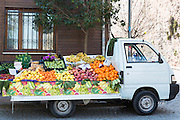 Mobile shop selling fresh produce local fruit and vegetables in area of Kariye Muzesi, Edirnekapi, Istanbul, Republic of Turkey