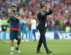 MOSCOW, July 1, 2018  Spain's head coach Fernando Hierro (R) and Diego Costa greet the audience after the 2018 FIFA World Cup round of 16 match between Spain and Russia in Moscow, Russia, July 1, 2018. Russia won 5-4 (4-3 in penalty shootout) and advanced to the quarter-final. (Credit Image: © Cao Can/Xinhua via ZUMA Wire)