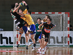 Milan Mirkovic and Damir Doborac of Cimos at Final match of Slovenian Men Handball Cup between RK Cimos Koper and RK Celje Pivovarna Lasko, on April 19, 2009, in Arena Bonifika, Koper, Slovenia. Cimos Koper won 24:19 and became Slovenian Cup Champion. (Photo by Vid Ponikvar / Sportida)