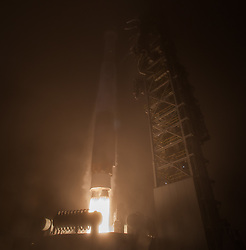 "The NASA InSight spacecraft launches onboard a United Launch Alliance Atlas-V rocket, Saturday, May 5, 2018, from Vandenberg Air Force Base in California. InSight, short for Interior Exploration using Seismic Investigations, Geodesy and Heat Transport, is a Mars lander designed to study the ""inner space"" of Mars: its crust, mantle, and core. Photo Credit: (NASA/Bill Ingalls)"