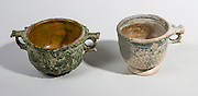 Roman green glazed Skyphos (wine cups) 1st century BCE