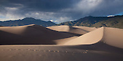 Panorama of the dune field with Mount Cleveland in the distance, Great Sand Dunes National Park, Colorado.