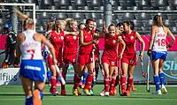 ANTWERP - BELFIUS EUROHOCKEY Championship.  women  England v Belarus (4-3) . Belarus celebrating a goal. Krestsina Papkova (BLR) , Karyna Syddykava (BLR) , Nastassia Syrayezhka (BLR) , Maryna Nikitsina (BLR) .WSP/ KOEN SUYK