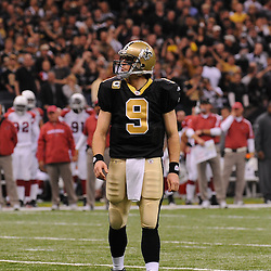 16 January 2010:  New Orleans Saints quarterback Drew Brees (9) on the field during a 45-14 win by the New Orleans Saints over the Arizona Cardinals in a 2010 NFC Divisional Playoff game at the Louisiana Superdome in New Orleans, Louisiana.