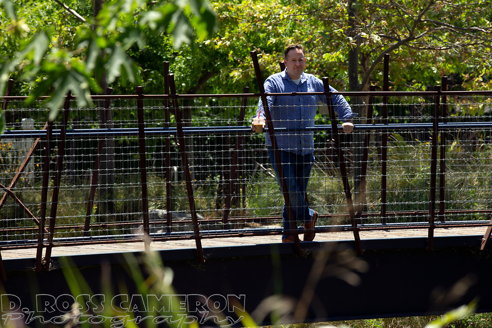 Mike Kusiak of Castro Valley, Calif. is seeking to have the Alameda County city incorporated; he posed for a photograph in the park by Castro Valley Creek, Saturday, May 11, 2019. (Photo by D. Ross Cameron)