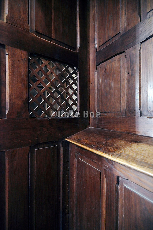 inside a confessional on the confessors side France