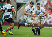 Twickenham, Surrey, United Kingdom.  Will COLLIER, supported by Charlie EWELS, during the, Old Mutual Wealth Cup, England vs Barbarian's match, played at the  RFU. Twickenham Stadium, on Sunday   28/05/2017England    <br /> <br /> [Mandatory Credit Peter SPURRIER/Intersport Images]