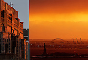 Editorial Travel Photography: Sunset on Liberty Island and detail of a Manhattan building, New York City, NYC, USA