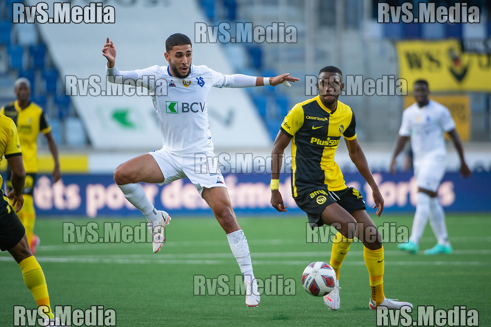 LAUSANNE, SWITZERLAND - SEPTEMBER 22: Hicham Mahou #20 of FC Lausanne-Sport in action during the Swiss Super League match between FC Lausanne-Sport and BSC Young Boys at Stade de la Tuiliere on September 22, 2021 in Lausanne, Switzerland. (Photo by Monika Majer/RvS.Media)