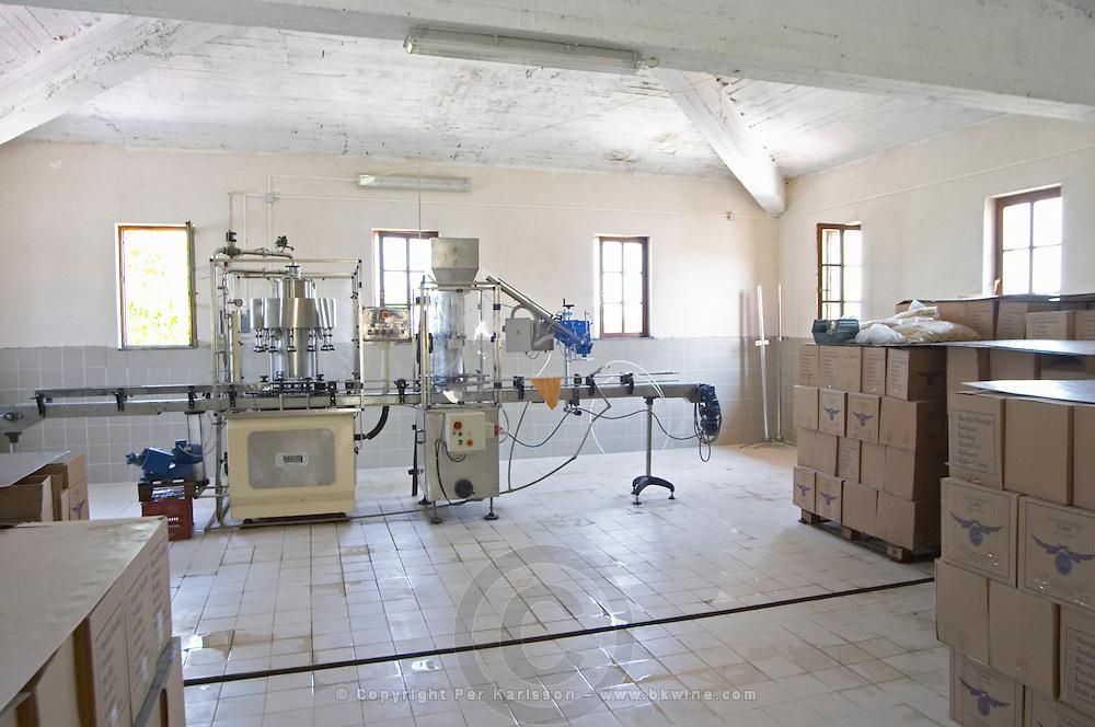 The new winery building with the bottling machine. Cobo winery, Poshnje, Berat. Albania, Balkan, Europe.