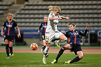 Ada Hegerberg of Lyon and Erika of PSG in action during the Women's French Championship D1 football match between Paris Saint Germain and Olympique Lyonnais on February 5, 2016 at Charlety stadium in Paris, France - Photo Jean Marie Hervio / Regamedia / DPPI
