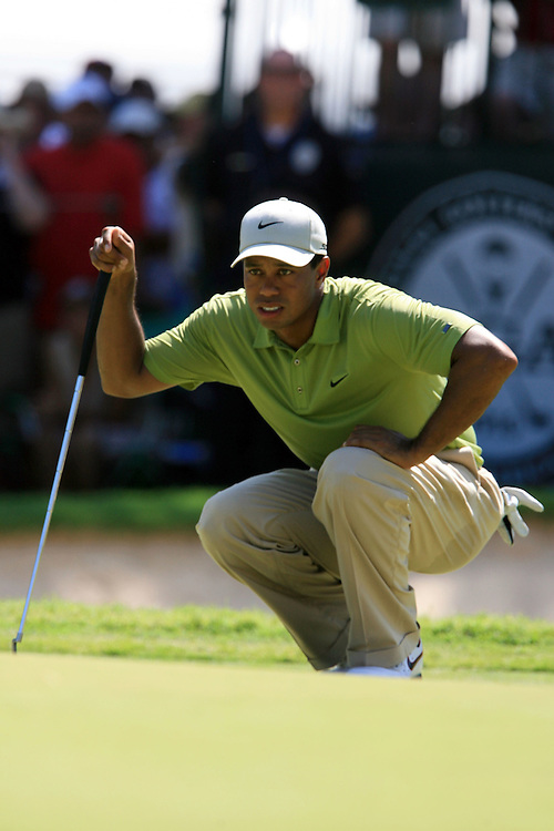 11 August 2007: Tiger Woods analyzes the 5th green during the third round of the 89th PGA Championship at Southern Hills Country Club in Tulsa, OK.