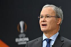 NYON, SWITZERLAND - Monday, December 14, 2020: UEFA Deputy General Secretary Giorgio Marchetti during the UEFA Europa League 2020/21 Round of 32 draw at the UEFA Headquarters, the House of European Football. (Photo Handout/UEFA)