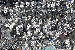 October 11, 2018 - Panama City, Florida, U.S. - Dozens of boats are scattered along the ground in the aftermath of Hurricane Michael as the storm left a swath of destruction across the Panhandle region of Florida area near Panama City, Florida. The Category 4 monster storm killed at least 6 people ad left behind catastrophic damage along northwestern Florida. (Credit Image: © Glenn Fawcett via ZUMA Wire)