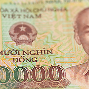 Close-up shots of Vietnamese paper currency, known as dong.