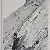 This is the actual print of my first cover photo in a national magazine: Mountain Gazette in May 1974. (Markings on back are interesting)  Here Roger Schley rests just below what we considered the be the crux move on Cucumbers, Cardinal Pinnacle. Because we could climb it we figured it couldn't be any harder that 5.8 or 5.9.