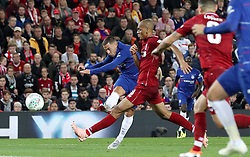 Chelsea's Eden Hazard scores his side's second goal of the game during the Carabao Cup, Third Round match at Anfield, Liverpool.