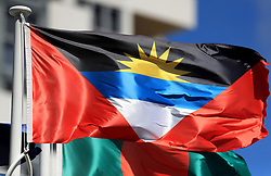 The flag of Antigua and Barbuda on a pole at the Commonwealth Games