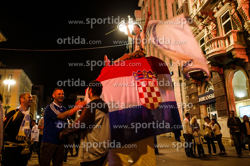 Fans celebrate first national championship overall victory in HNK Rijeka club history after winning against HNK Cibala in Round #35 of 1st HNL League 2016/17, on May 21st, 2017 in Rujevica stadium, Rijeka, Croatia. Photo by Grega Valancic / Sportida