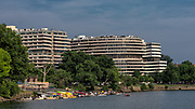The Watergate complex, as seen from the boardwalk running along the Potamic River, with the Thompson Boat House and crew teams visible in the foreground