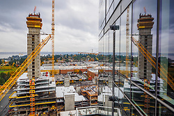 United States, Washington, Bellevue. Skyscraper construction downtown.