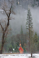 Red Chapel in the Mist. Winter in Yosemite National Park, California. Image taken with a Nikon D3s and 70-200 mm VR lens (ISO 200, 105 mm, f/8, 1/50 sec).