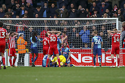 March 9, 2019 - High Wycombe, Buckinghamshire, United Kingdom - Sunserlands Dunne and players cant beliebe they havent scored during the Sky Bet League 1 match between Wycombe Wanderers and Sunderland at Adams Park, High Wycombe, England  on Saturday 9th March 2019. (Credit Image: © Mi News/NurPhoto via ZUMA Press)