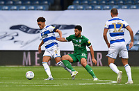 Football - 2019 / 2020 Sky Bet (EFL) Championship - Queens Park Rangers vs. Sheffield Wednesday<br /> <br /> Queens Park Rangers' Luke Amos holds off the challenge from Sheffield Wednesday's Massimo Luongo, at Kiyan Prince Foundation Stadium (Loftus Road).<br /> <br /> COLORSPORT/ASHLEY WESTERN