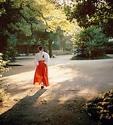 Japanese woman in traditional dress in Yoyogi Park, Tokyo, Japan