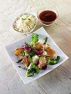 Oriental vegetarian stir fry of vegetables,, pak choi, asparagus & hoisin sauce