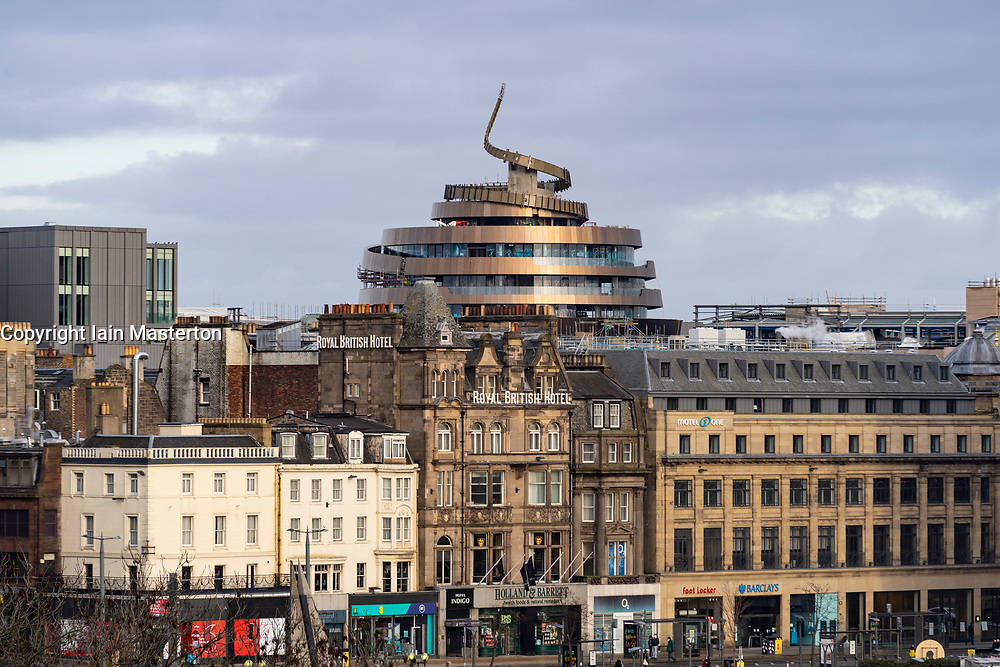 View of modern architecture of W hotel roof under construction at new St James Quarter, Edinburgh, Scotland, UK