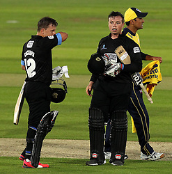 Sussex's Craig Cachopa and Sussex's Matt Machan after seeing Sussex home to beat Hampshire - Photo mandatory by-line: Robbie Stephenson/JMP - Mobile: 07966 386802 - 19/06/2015 - SPORT - Cricket - Southampton - The Ageas Bowl - Hampshire v Sussex - Natwest T20 Blast