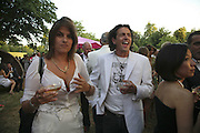 Tracey  Emin and Giorgio Locatelli, The Summer Party sponsored by Yves St. Laurent. Serpentine Gallery. 11 July 2006. . ONE TIME USE ONLY - DO NOT ARCHIVE  © Copyright Photograph by Dafydd Jones 66 Stockwell Park Rd. London SW9 0DA Tel 020 7733 0108 www.dafjones.com