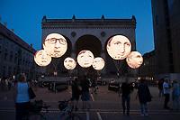 """05 JUN 2015, MUNICH/GERMANY:<br /> Installation der entwicklungspolitischen Lobby- und Kampagnenorganisation ONE, mit Riesenballons, auf denen die Koepfe der G7 Regierungschefs abgebildet sind und mit dnen """"mehr als heisse Luft"""" beim Kampf gegen extreme Armut gefordert wird, Odenonsplatz<br /> IMAGE: 20150605-03-004<br /> KEYWORDS: München, ONE.org, Kampagne, Politiker, Gesichter, Aktion, Demonstration, Demo"""