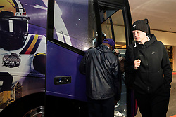 The LSU Tigers quarterback Joe Burrow arrives at the team hotel, Sunday, Dec. 22, 2019, in Atlanta. LSU will face Oklahoma in the 2019 College Football Playoff Semifinal at the Chick-fil-A Peach Bowl. (Paul Abell via Abell Images for the Chick-fil-A Peach Bowl)