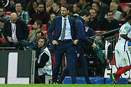 Gareth Southgate, the England interim manager looking on. England v Spain, Football international friendly at Wembley Stadium in London on Tuesday 15th November 2016.<br /> pic by John Patrick Fletcher, Andrew Orchard sports photography.