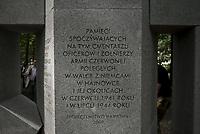 Hajnowka, 23.07.2018. Uroczystosc pochowku szczatkow zolnierzy radzieckich ekshumowanych z lasu w okolicach rzeki Narew , ktorzy zgineli podczas II wojny swiatowej . Prace ekshumacyjne i archeologiczne byly prowadzone w okolicach wsi Wojszki i Ryboly przez miedzynarodowy zespol w lipcu 2018; N/z uroczystosc pochowku na cmentarz zolnierzy radzieckich fot Michal Kosc / AGENCJA WSCHOD