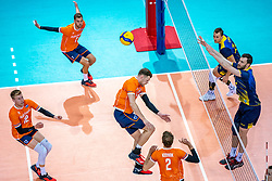 Bennie Tuinstra of Netherlands, Gijs Jorna of Netherlands, Michael Parkinson of Netherlands, Wessel Keemink of Netherlands in action during the CEV Eurovolley 2021 Qualifiers between Sweden and Netherlands at Topsporthall Omnisport on May 14, 2021 in Apeldoorn, Netherlands
