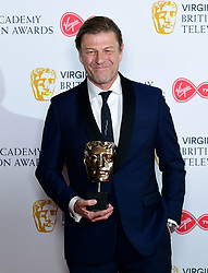 Sean Bean with his leading actor award in the press room at the Virgin TV British Academy Television Awards 2018 held at the Royal Festival Hall, Southbank Centre, London.