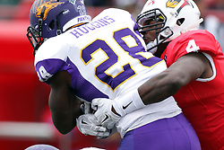 03 October 2015:  David Perkins(4) wraps up ball carrier Savon Huggins(28). NCAA FCS Football between Northern Iowa Panthers and Illinois State Redbirds at Hancock Stadium in Normal IL (Photo by Alan Look)