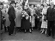 """20/09/1952<br /> 09/20/1952<br /> 20 September 1952<br /> Launch of the steamship """"Isolda"""" for Irish Lights, at the Liffey Dockyard Co. Ltd., Dublin. Sean Lemass (3rd from Left), Minister for Industry and Commerce among the attendees at the launch."""