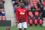 Manchester United U21 Matty Willock in warm up during the Barclays U21 Premier League match between U21 Southampton and U21 Manchester United at the St Mary's Stadium, Southampton, England on 25 April 2016. Photo by Phil Duncan.
