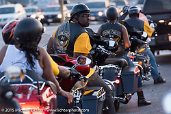 """Rod Brownley riding from the annual Flying Eagles MC (founded 1950) """"Founders Picnic"""" in Sykesville to the American Legion in Catonsville, MD, USA. August 16, 2015.  Photography ©2015 Michael Lichter."""