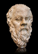 Roman bust of Socrates, 1st cent AD from the construction site of the monument to Vitorio Emanuel II,  Rome, Italy. This portrait of Socrates is similar to the Herm of Socrates from the Naples National Museum. In xenophon's Symposium socrates is described as 'Short body with wide shoulders, prominent belly, aquiline nose, thick wide mouth and head almost completely bold. In 399 BC the famous Athenian philosopher was condemned to death for impiety and corruption. Inv 1236, National Roman Museum, Rome.