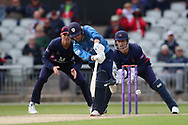 Derbyshires Harvey Hosein (Wicket Keeper) during the Royal London 1 Day Cup match between Lancashire County Cricket Club and Derbyshire County Cricket Club at the Emirates, Old Trafford, Manchester, United Kingdom on 2 May 2019.