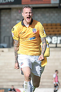 David Wheater (Captain) (Bolton Wanderers) celebrates scoring the first goal of the game. 1-0 to the visitors during the EFL Sky Bet League 1 match between Port Vale and Bolton Wanderers at Vale Park, Burslem, England on 22 April 2017. Photo by Mark P Doherty.