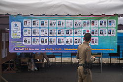 March 24, 2019 - Bangkok, Thailand - A policeman walks past a candidate list outside a polling station on the Thai General election day..The Future Forward Party Leader Thanathorn Juangroongruangkit and his wife appeared at a polling station in the east of Bangkok city on the Thai General Election day..Thailand is hosting it first General election in 8 years. (Credit Image: © Geovien So/SOPA Images via ZUMA Wire)