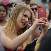 Selfies obsessive at West End Live 2019 - Day 2 in Trafalgar Square, on 23 June 2019, London, UK.