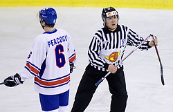 Referee with a broken stick at IIHF Ice-hockey World Championships Division I Group B match between National teams of Slovenia and Great Britain, on April 20, 2010, in Tivoli hall, Ljubljana, Slovenia. Slovenia defeated Great Britain after overtime 4-3. (Photo by Vid Ponikvar / Sportida)